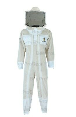Unisex Ultra Ventilated 3 Layers Bee Suit, Double Zippers, Round Veil, White