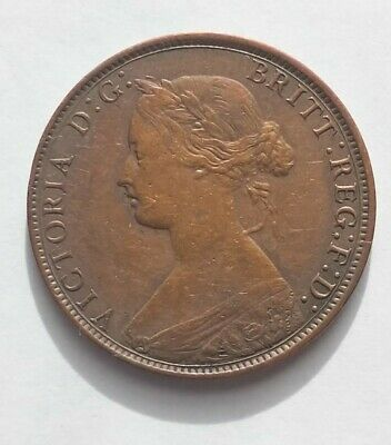 1861 Nova Scotia One Cent Foreign Coin Old Ungraded Nice Toned