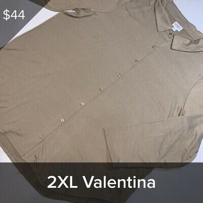 LULAROE VALENTINA Button-down Shirt NWT 2 XL Light Brown/taupe Solid