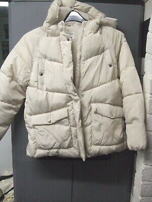 Zara Girls Ivory Warm Fleece Lined Hooded Jacket Age 13/14 Years