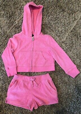 POLO RALPH LAUREN Pink Terry Cloth Tracksuit Toddler Girls 2/2T Hoodie Shorts