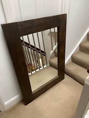 Large Heavy Brown Solid Wood Frame Mirror. Reclaimed Vintage Antique. Wall Floor