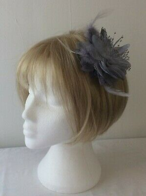 *SALE* Silver Grey Feather Net Bead Fascinator Corsage Clip - Pin- Band BNWOT