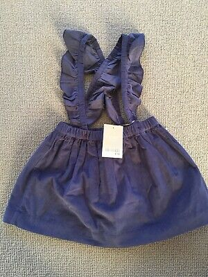 BNWT Baby Girl NEXT Blue Cord Pinafore Dress/Skirt with straps Age 1.5-2 Years