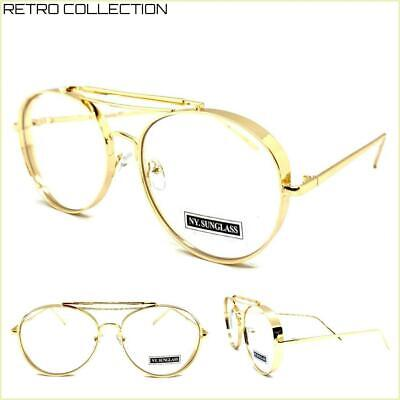 Men or Women CLASSIC RETRO Style Clear Lens EYE GLASSES Gold Metal Fashion Frame