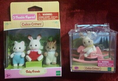 Calico Critters Baby Friends 3 Figures HTF  Bunny on Rocking horse w//case