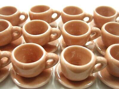 Dollhouse Miniature Ceramic 6//12 Mixed Coffee Cup Saucer Round Plate #M 3849