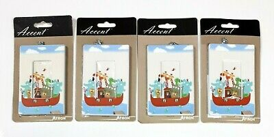 Atron Decorative Children's Switch Plate Covers - Noah's Ark, Animals - Lot of 4