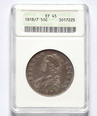 1818/7  50 Cent Capped Bust Half Dollar - EF45   ANACS - Very Nice!!