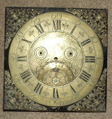 """ANTIQUE BRASS GRANDFATHER CLOCK FACE 25cm SQUARE 1800`s  MARKED """"TRAVIS"""""""