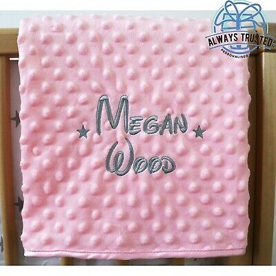 Personalised Baby Blanket Luxury Pink Bubble Style Grey Font Disney Name Gift