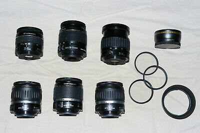 3 Working Canon Ef-S 18-55Mm I Ii Camera Wide Lens 22-55Mm 35-105Mm Filters Lot
