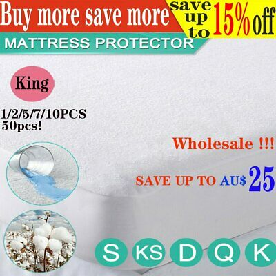 LOT! KING 1-50pcsFully Fitted Terry Cotton Waterproof Mattress Protector Cove