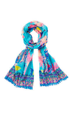 Lilly Pulitzer RESORT SCARF Shorely Blue Sandstorm Engineered FISH SEA LIFE New