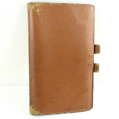 Auth HERMES AGENDA VISION Notebook Day Planner Cover Leather Brown