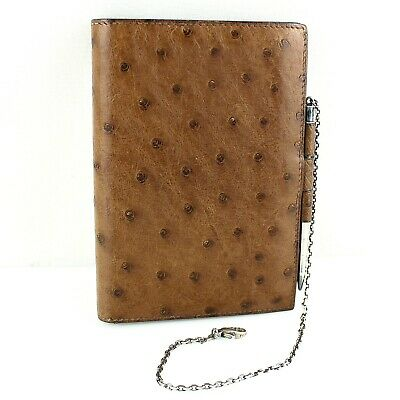 Auth HERMES AGENDA GM Notebook Cover Ostrich Leather Brown w/Mechanical Pencil