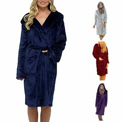 Women Lady Sexy Warm Hooded Coral Fleece Bath Robe Dressing Gown Wrap Housecoat