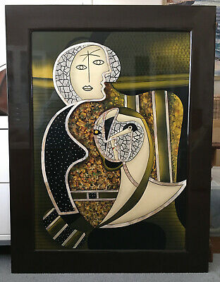 Unique Beautiful WALL ART Textured+Inlaid M-of-Pearl PICASSO STYLE * NOT lacquer