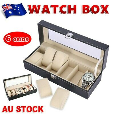 6 Grids Watch Display Box Case Jewelry Collection Storage Holder Organizer Gift