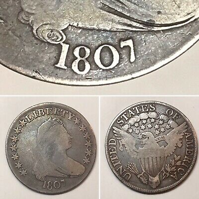 1807 DRAPED BUST SILVER HALF DOLLAR - Fair Coin