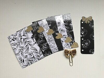 Pocket Filofax Planner Dividers x 6 + Bow Paper Clip - Black Glitter Flower Bow