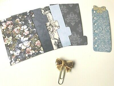 Filofax Pocket Planner Organiser 5 Tab Dividers Plus Extras - Blue Glamour