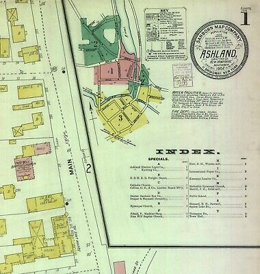 Ashland, New Hampshire~Sanborn Map© sheets~1897- in full color with 12 maps