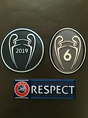 UEFA Champions League Patch Badge 6 Times 2019 and Respect For Liverpool Shirt