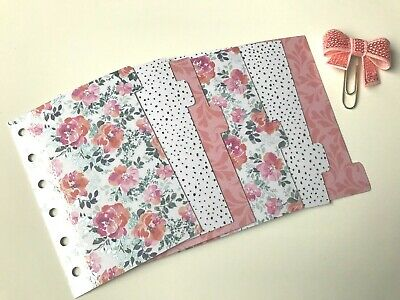 Pocket Filofax Planner Dividers x 6 - Bow Paper Clip - Peach Mint Pink Floral