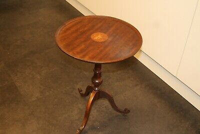 Antique EDWARDIAN Inlaid Solid Mahogany Wine Occasional  LampTable