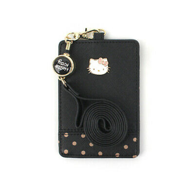 Hello Kitty Necklace Card Wallet Black Dot Fashion Item Cute Girls Gift Purse