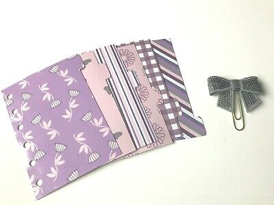 Pocket Filofax Planner Dividers x 6 + Sequin Bow Paper Clip - Purple & Greys