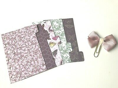 Pocket Filofax Organiser Planner Dividers x 6 + Paper Clip - Pretty Butterfly