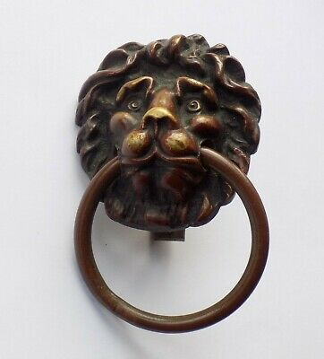 Antique Brass Lions Head Door, Drawer Ring Pull Handle. Very Well Cast.