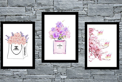 Set of 3 Coco Chanel Cherry Blossom Wall Art Prints A4 Room Bedroom Poster UK