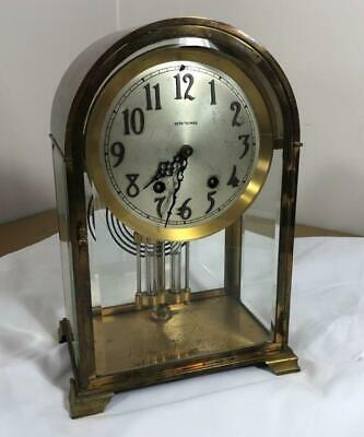 Antique Seth Thomas Brass Beveled Glass Tombstone Mantle Clock
