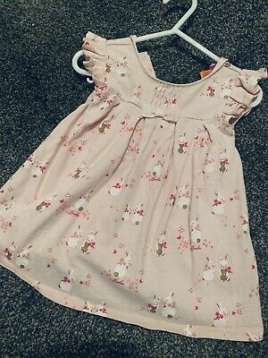 Baker by Ted Baker - Baby Girls' Light Pink Bunny Print Cotton Dress BNWT 6-9