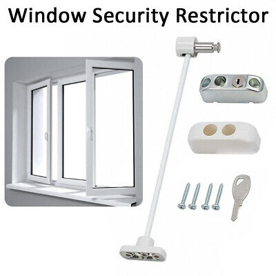 White Window Door Cable Restrictor Ventilator Child Safety Tested Security Lock