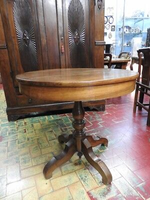 Antique Table round 1830 about Walnut Solid Wood Leg Central Period