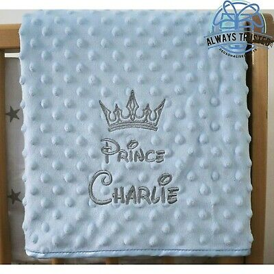 Personalised Baby Blanket Luxury Blue Bubble Style Grey Font Disney Prince Gift