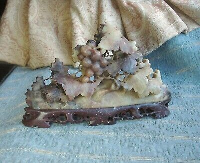 Old Antique Hand Carved Chinese Soapstone Stone Grape Vine Sculpture Ornament o