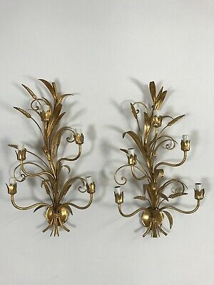 Stunning Pair Of French Vintage Mid Century Gold Gilt Wheatsheaf Wall Lights