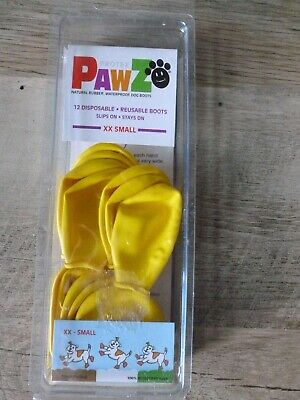 PawZ Protex Dog Boots Water-Proof Paws Disposable Reusable XX-Small Yellow F/S!