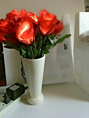 Lighted/Lite Plug-in Artificial SILK red Roses-night light, Gift idea