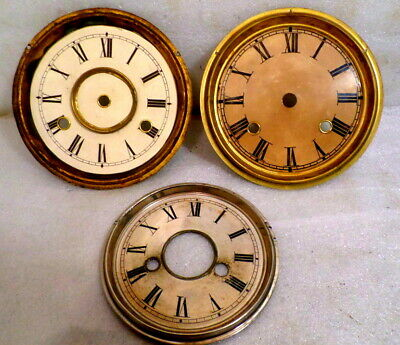 3 Original Anitque American Clock Pans With Dials