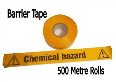 X500M Roll WARNING BARRIER TAPE 70mm safety CAUTION CHEMICAL HAZARD yellow
