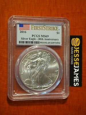 2016 $1 American Silver Eagle Pcgs Ms69 Flag First Strike Label