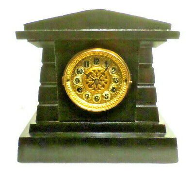 1890 New Haven 8 Day Greek Architectural Striking Mantle Clock-Rococo Brass Dial