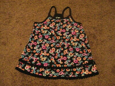 Justice Pre Owned  Girls Size 6  Black Floral Tank Top