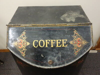 All Original VICTORIAN General Store Coffee Tin Bin On CAST IRON Legs 26""
